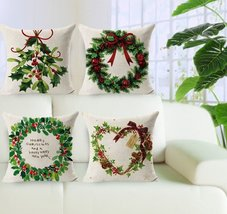 Merry Christmas Decoration Pillow Covers 4 Pieces Linen 18x18 Inches Chr... - £15.85 GBP