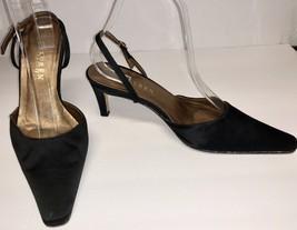 Ralph Lauren Black Satin Sling Back Heels Sz 7.5 B - $25.73