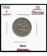1950 F, West Germany: 50 Pfennig Coin - $0.98