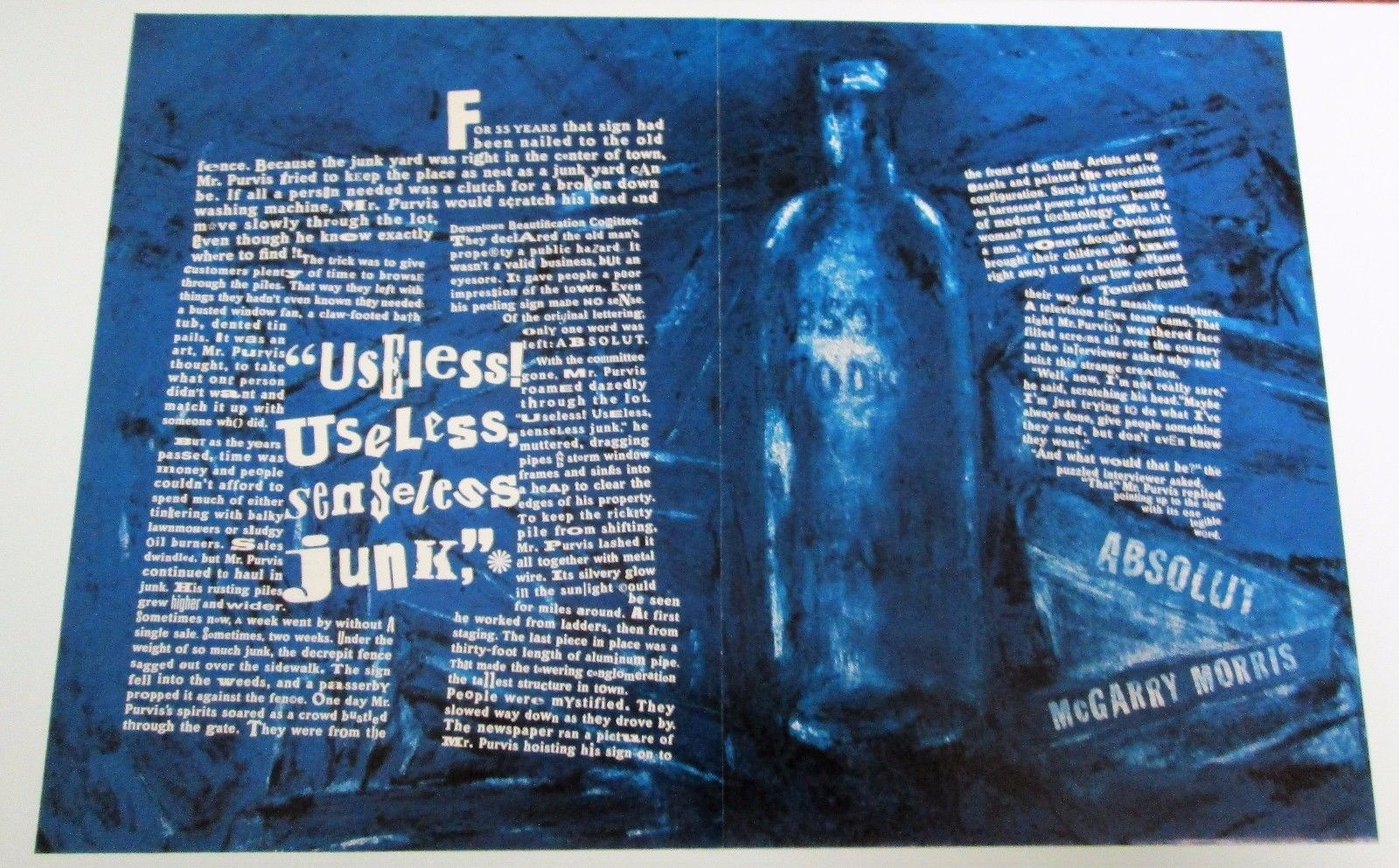 Primary image for ABSOLUT McGARRY MORRIS Vodka Magazine Ad 2pp MARY McGARRY MORRIS Hard to Find