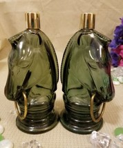 Avon wild country set of 2 Green glass horse after shave bottles decanters - $19.94