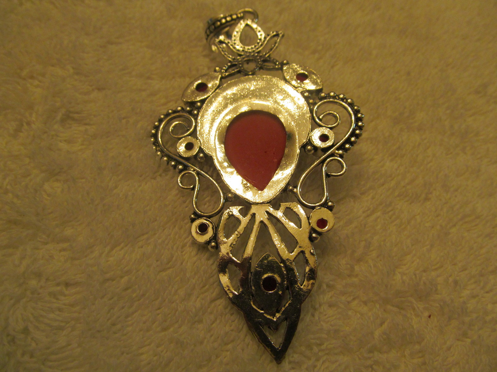 GODDESS PENDENT, RED FACE AND  STONES. HANDMADE.