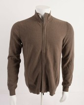 Massimo Dutti Mens Zipped Cardigan Sweater Cotton Medium Brown 0908/442 ... - $54.45