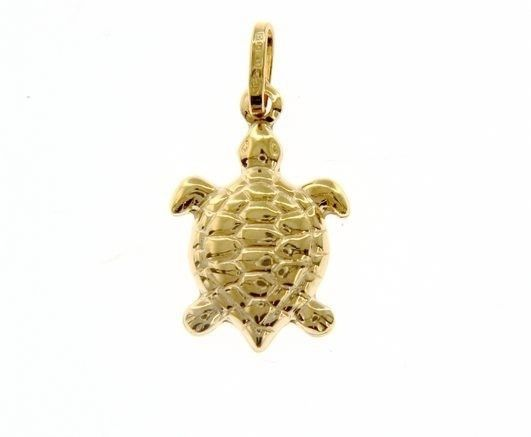 18K YELLOW GOLD ROUNDED TURTLE TORTOISE PENDANT CHARM 27 MM SMOOTH MADE IN ITALY