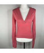 Abercrombie & Fitch Cashmere Hoodie Sweater Womens M Coral Pink V Neck  - $56.09