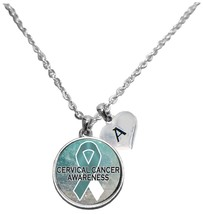 Custom Cervical Cancer Awareness Sparkle Silver Necklace Jewelry Choose Initial - $15.80