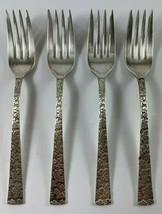 """Lot of 4 International Silver Co. """"Vintage"""" Leaf Pattern Salad Forks  - $12.86"""