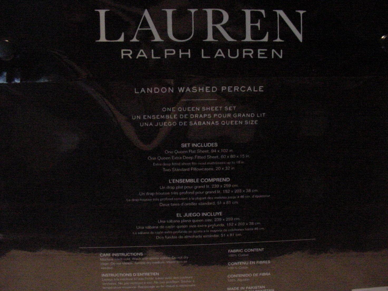 Ralph Lauren Landon Washed Percale White Cotton Sheet Set Queen