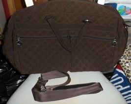 Vera Bradley Large chocolate brown microfiber travel bag weekender  - $75.00