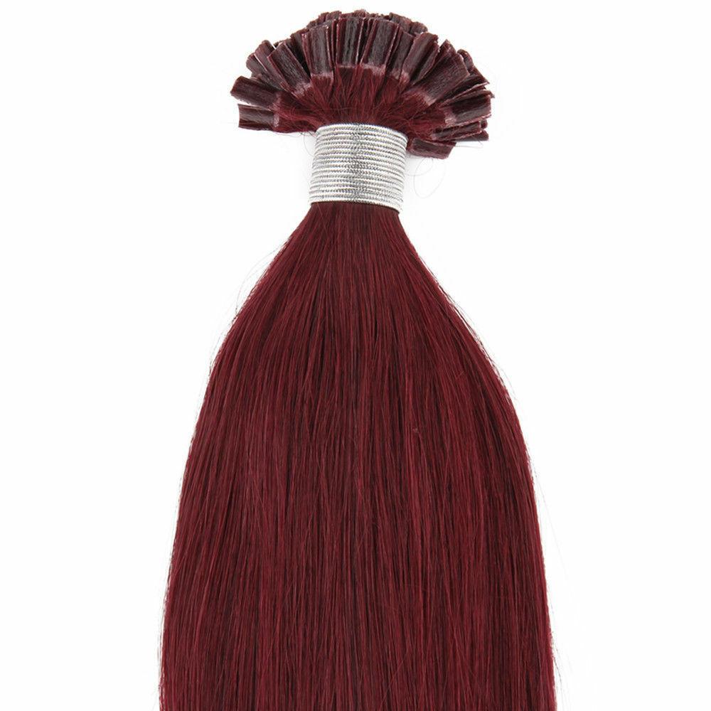 "18"" 100grs,100s,U Tip (Nail Tip) Fusion Remy Human Hair Extensions #99J Burgundy - $98.99"