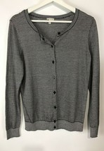Talbots Sweater Cardigan Striped Metallic Navy Blue & Ivory Button Front... - $7.22