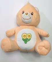 "Care Bears Friend Bear Sitting Orange 9"" Plush Flowers on Tummy NANCO 2003 - $16.33"