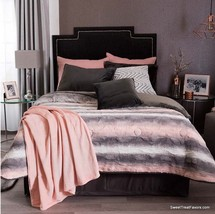 Rainbow Stripes Blanket Sherpa Queen Bedding Decoration Grey Gift Pink Teens New - $98.01
