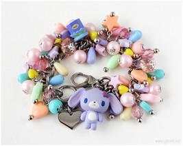 Sugarbunnies Charm Bracelet, Blueberry Bunny Figure, Pastel Charms - Swe... - $44.00
