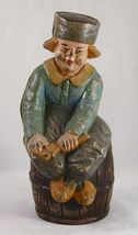 Vintage Large Painted Dutch Boy on Barrel Cast Iron Still Penny Bank By ... - $300.00