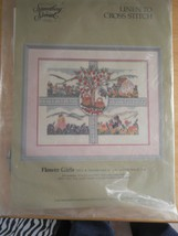 "New Cross Stitch Kit Embroidery 18""x14"" Flower Girls Something Special Linen to - $24.95"