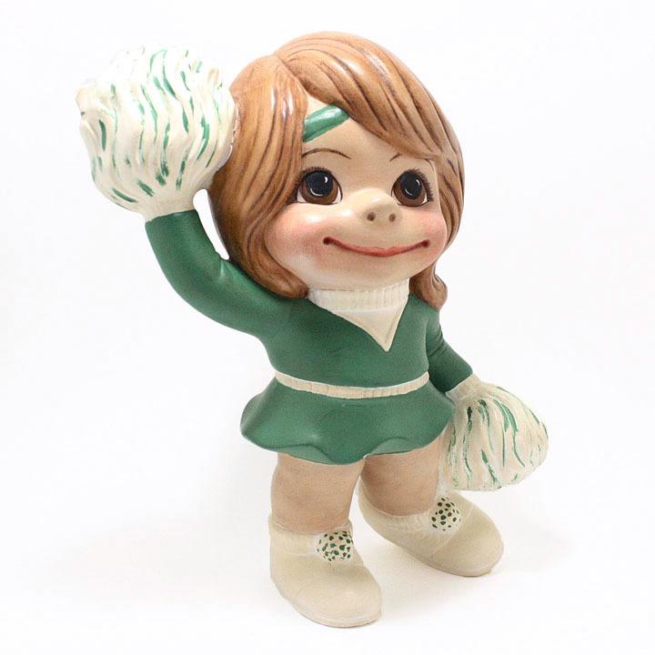 OOAK Smileys Cheerleader with Pom Poms Figurine Retro School Collectible