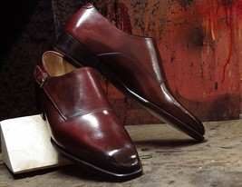 Handmade Men's Maroon Leather Monk Strap Dress/Formal Shoes image 3