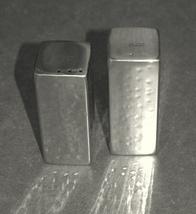 Judaica Salt and Pepper Shaker Set Stainless Steel Hammered Shabbat Kodesh