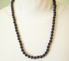 NAPIER NAVY Blue Beads Necklace Gold Plate Spacers Strand String Vintage  - $14.80