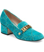 NIB GUCCI Sylvie Turquoise GG velvet pumps shoes IT 38.5; Rtl $890 - $649.99