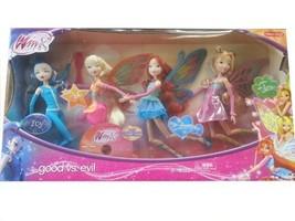 """Winx Club Good vs Evil 4 Pack Icy Bloom Stella Flora 11.5"""" Enchantix Dolls - $294.11"""