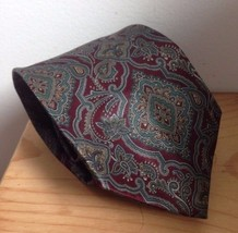 Geoffrey Beene Paisley Silk Neck Tie Maroon Red Green - $7.91