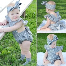 Newborn Infant Kids Baby Girls Romper Jumpsuit Bodysuit Headband Outfits... - $22.00