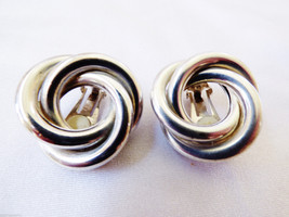 VTG Silver Plate Knot Ring Cluster Design clip on Earrings - $19.01