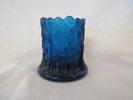 Vintage Cobalt Blue Pressed Glass Tree Trunk With Leaves Toothpick Holder - $12.34