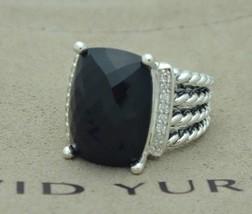 David Yurman Sterling Silver 16x12mm Black Onyx Diamond Wheaton Ring Size 8 - $424.71