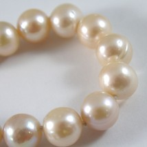 Pulsera Oro Amarillo 750 18K, Collar de Perlas Rosa Pesca Diám 11 MM, Long 19 CM image 2