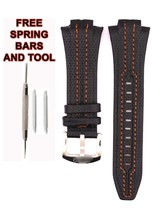 Seiko Sportura SNL017P1 27mm Orange Stitch Black Leather Watch Strap Ban... - $48.51