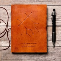 Gemini Zodiac Handmade Leather Journal - $38.00