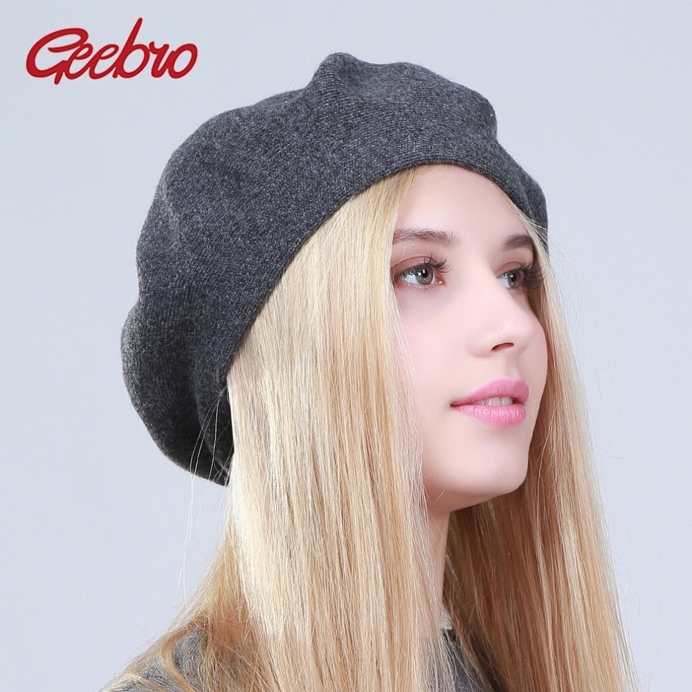 39d1a265 Men s berets hat fashion solid color wool knitted berets with rhinestones ladies  french artist 1