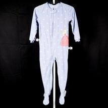 Carters Fleece Footed Princess Pajamas 5T Girls Purple Polka Sat Footie Warm - $17.68
