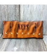 Wood Key Rack 7 Hooks Redwood Handmade Rustic California Live Edge Engra... - $42.99