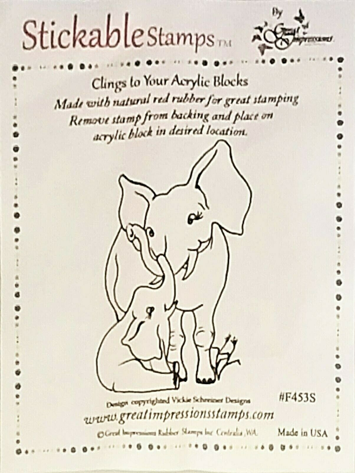 Stickable Stamps Mamma and Baby Elephant Rubber Stamp #F463S