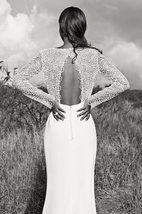 Elegant Mermaid Boho Wedding Dress Long Sleeves Lace Flowers Open Back image 2