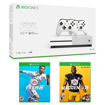 Xbox One S 1TB Bundle with 2 Controllers, Madden 19, FIFA 19 and 3 Month Xbox Ga - $570.99