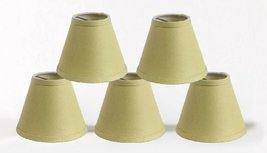 Urbanest Pure Linen Chandelier Lamp Shades, 6-inch, Hardback Clip On, Olive Gree - $29.69