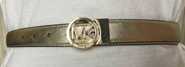 MICHAEL KORS BELT REVERSIBLE GOLD/LUGGAGE With MK LOGO CIRCLE BUCKLE - $37.99