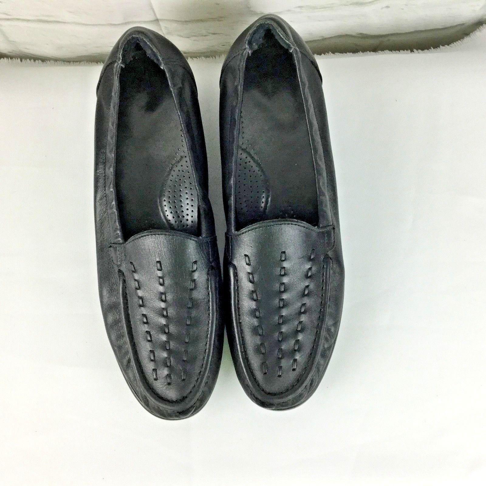3e355e4c95b SAS Black Tripad Comfort Slip On Loafers Women s 11N Narrow Woven Leather  Upper