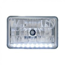 """United Pacific 4"""" X 6"""" Crystal Headlight w/ 9 White LED Position Light - Low Bea - $65.89"""