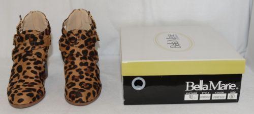 Bella Marie Vermont 61 Leopard Suede Double Buckle Plus Zipper Size 6