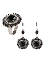 3Pcs Women's Earring Ring Set Sun Flower Shape Ethnic Style Accessory - $16.99