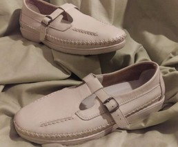 Propet womens shoes t-strap Cafe Walker sz 8.5 bone/ivory leather comfor... - $19.79