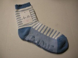 Socks, Ladies Non-Skid, Sock Size 9-11, Blue Stripes, By Gold Medal,Bran... - $5.99