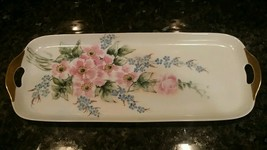 Moschendorf BAVARIA GERMANY Tray w/ Two Handles - PINK ROSES, GILDING, S... - $50.00