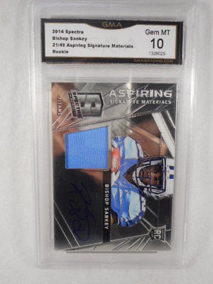 2014 Spectra 21/49 Bishop Sankey Aspiring Signatures Relic RC GMA Gem Graded 10